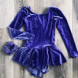 Mondor girls ice figure skating dress 6 7 purple